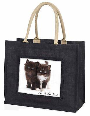 Kätzchen 'Nan, mein bester Freund' große schwarze Einkaufstasche