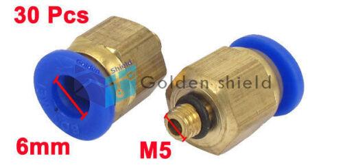 30 Pcs 6mm Tubo M5 Rosca Macho Conector Acoplador rápido montaje de aire