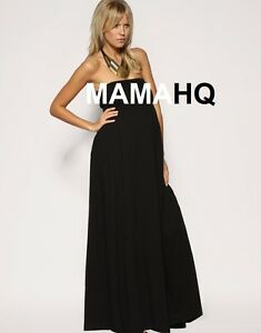 New Maternity Black Bandeau Maxi Dress size 12