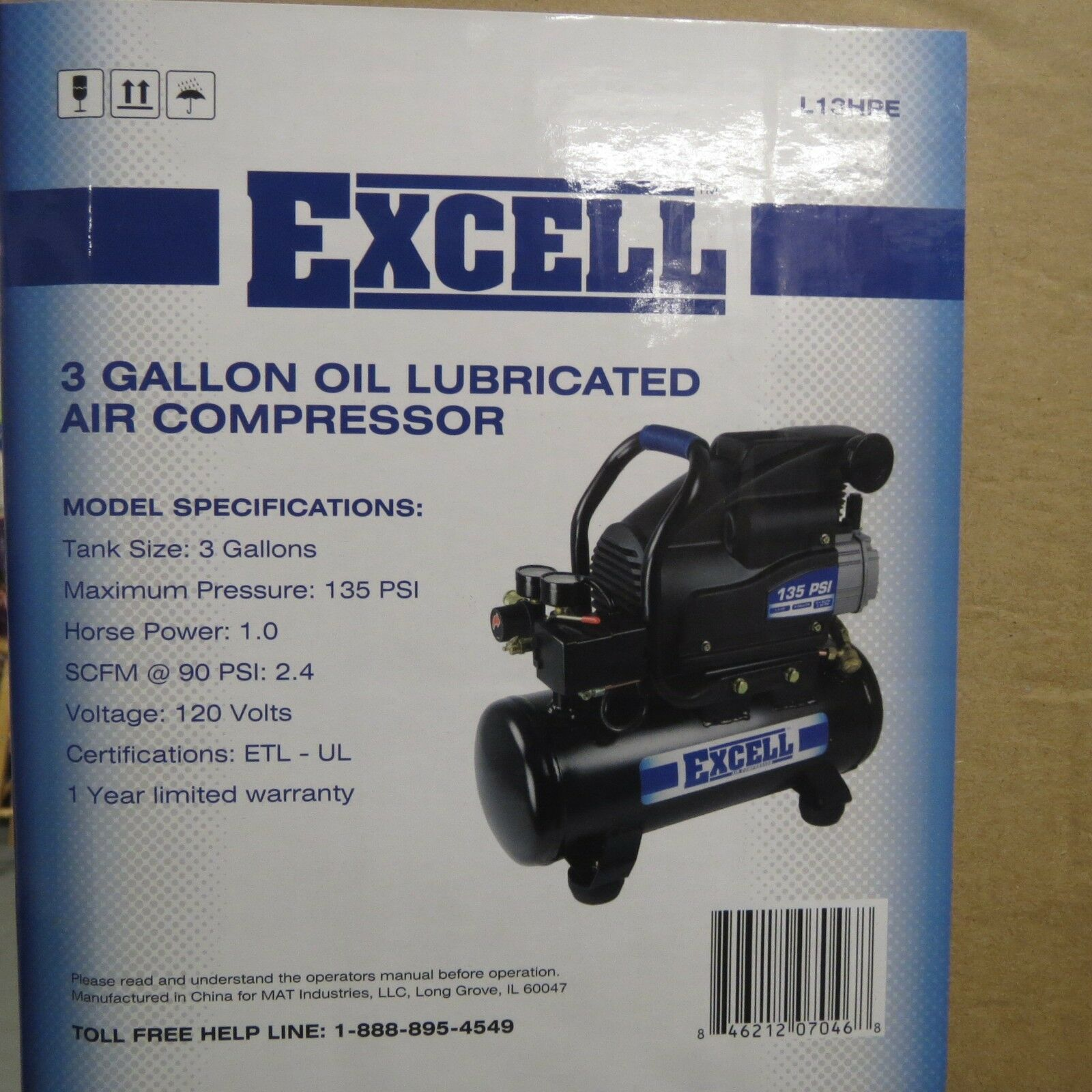 Excell L13HPE 3 Gallon Oil Lubricated Portable Air Compressor