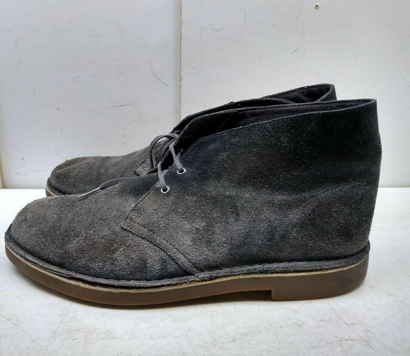 Clarks Oscuro gris Gamuza Suela De Goma Bota De Desierto Chukka Zapatos para hombres informal 11M 45,5