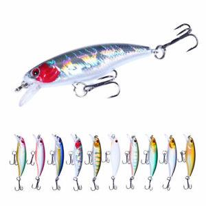 10pcs/set Crankbait 6cm/4.3g Minnow Fishing Lure Hooks Tackle Hard Bait Bass