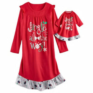 c06d2f6f23 Girl 4-14 and Doll Matching Christmas Nightgown Clothes American ...