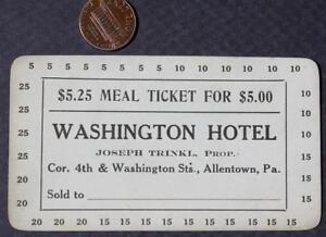 1910 20s Era Allentownpennsylvania Washington Hotel 5 Punchout