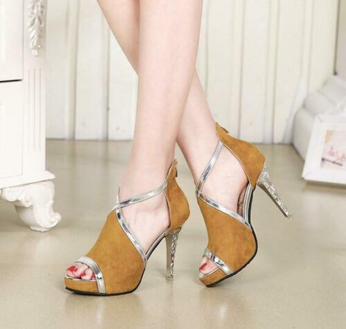 Womens High Heels Stilettos Peep Toe Platform Shoes Back Zipper Sandals Bt15