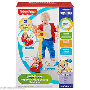 Fisher-Price Laugh /& Learm Puppy/'s Smart Stages Push Car 2 Ways to Play New