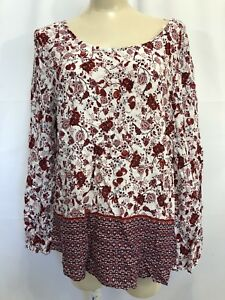 Nwt-Faded-Glory-Womens-LARGE-red-Maroon-amp-White-Floral-Thin-Top-Long-Sleeve