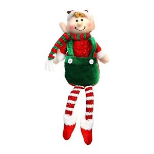 Christmas Elf On The Shelf Images.Details About Stripy Red Green Plush Happy Christmas Elf Shelf Soft Boy Doll Toy