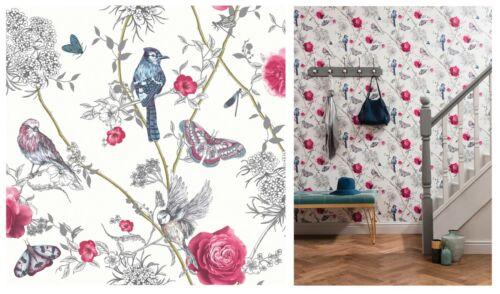 Arthouse Paradise Jardin Oiseau BLANC ROSE PAILLETÉ PAPIER PEINT 692404