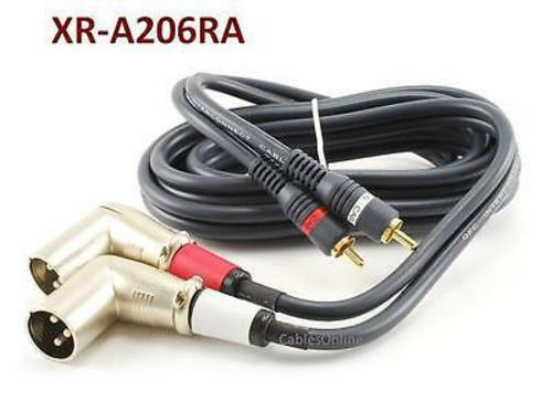 6ft 2-XLR 3C Right-Angle Male to 2-RCA Male Stereo Audio Cable XR-A206RA