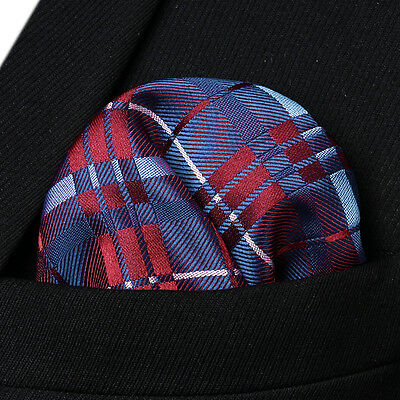 CB Check Men Silk Satin Pocket Square Hanky Wedding Party Handkerchief