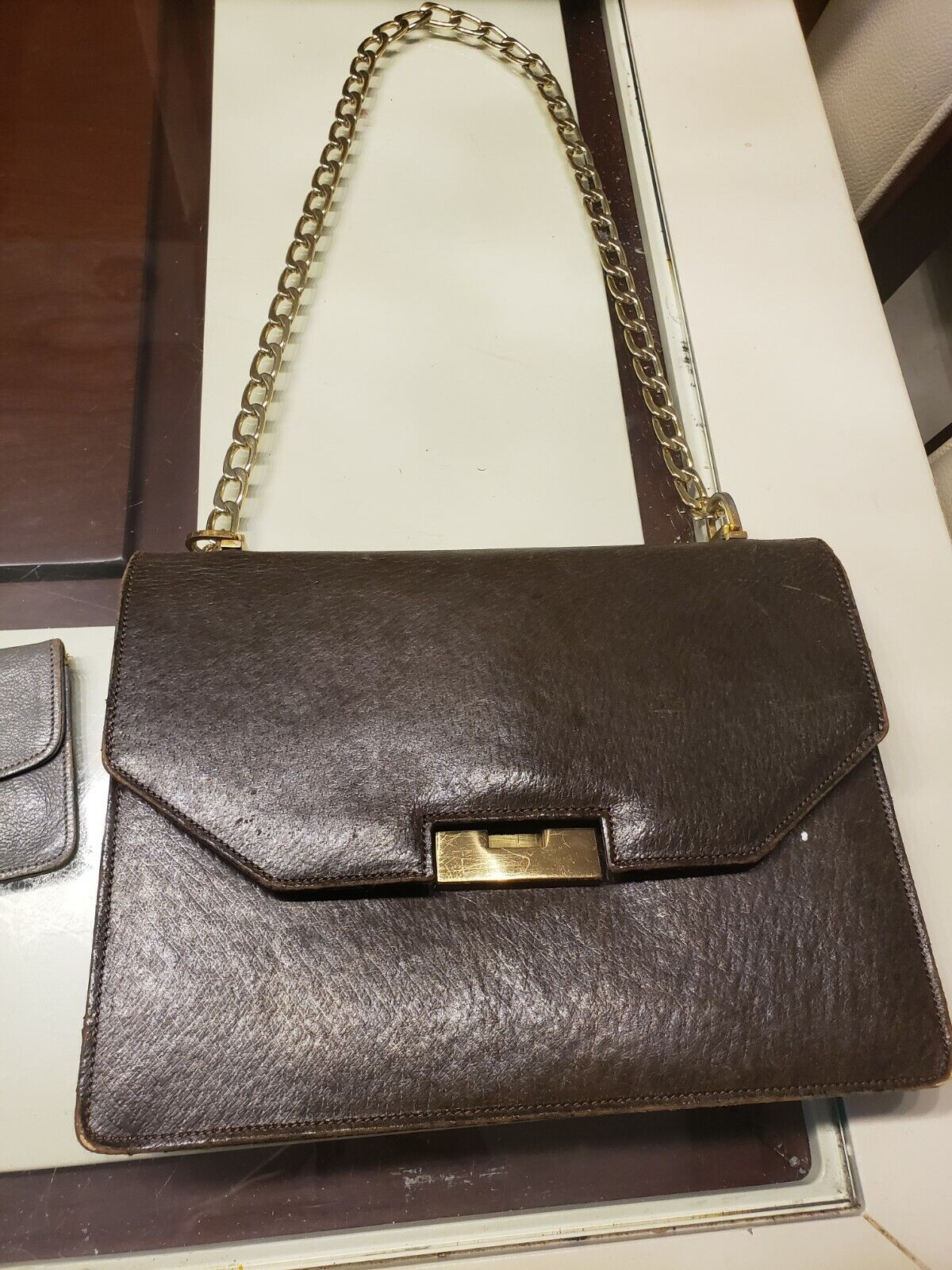 Vintage GUCCI Classic Brown Kelly Purse Handbag T… - image 2