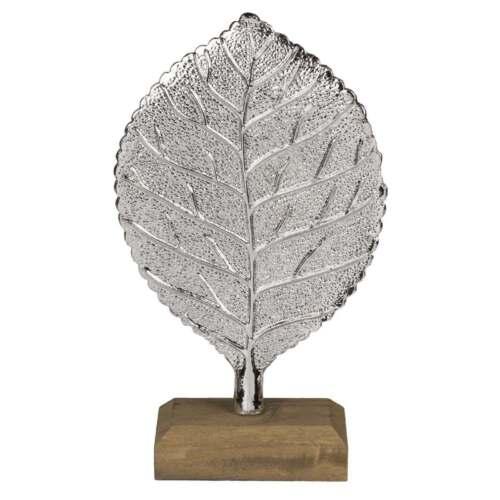 Silberfarbenes Blatt auf Holz Standfuß Deko-Objekt Design Skulptur Deko-Figur