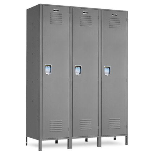 """3 openings Metal School Gray Lockers 36/""""W X 18/""""D X 72/""""H-78/""""H W//Legs"""