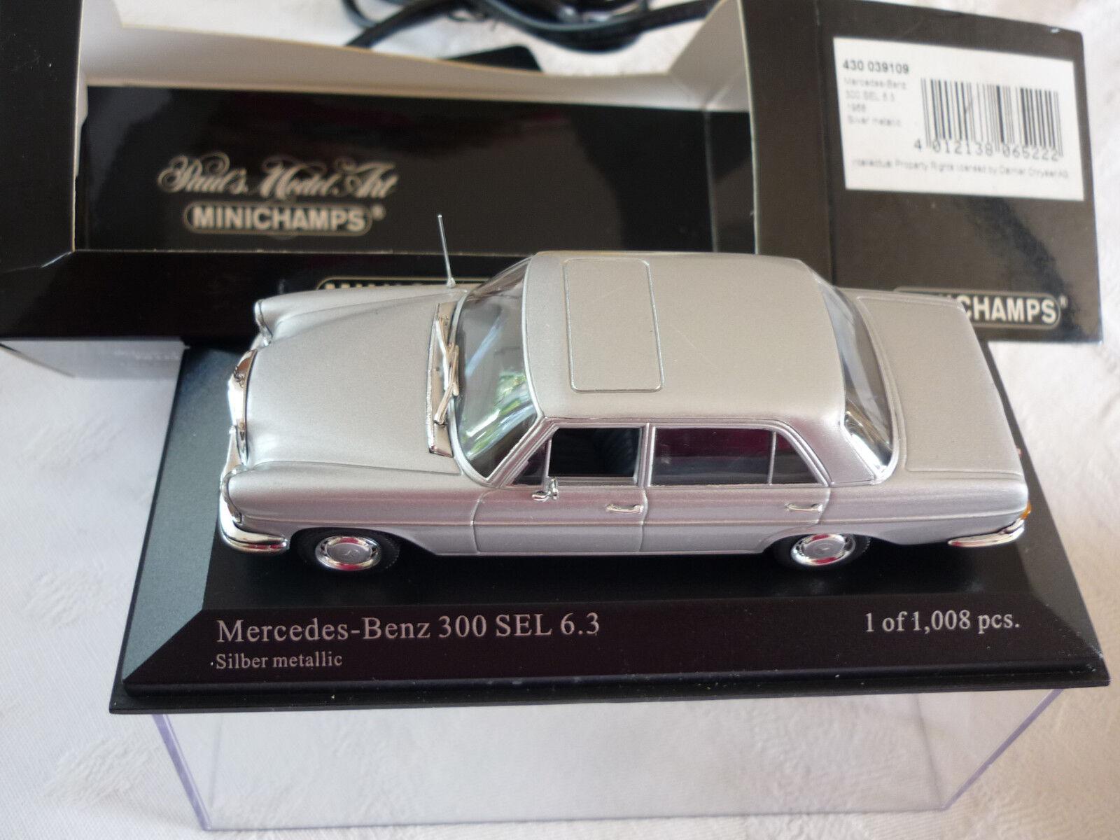 MINICHAMPS  MERCEDES  300 SEL 6.3L 1968 1 43 gris METAL REF 430039109