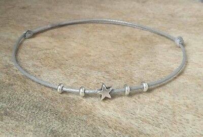 Aufrichtig Sterling Silver Star Grey Bracelet Anklet Adjustable Surfer Cord Beads Ruf Zuerst