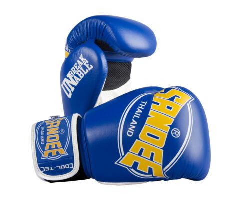 Sandee Cool-Tec Muay Thai Leather Boxing Gloves Blue//Yellow10oz-16oz