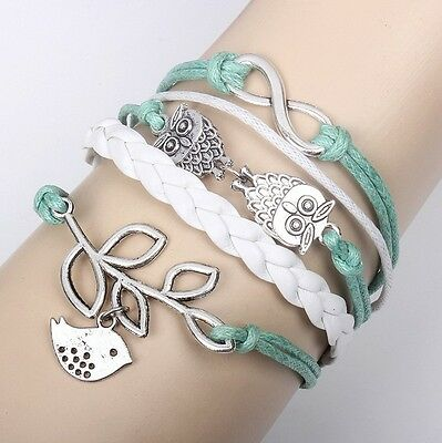 Owl Hot Infinity Love Anchor Leather Cute Charm Bracelet plated Silver DIY SL146