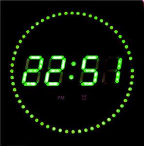 LED-Horloge-murale-datum-temperature-et-DWS-Rond-Affichage-des-secondes-Vert
