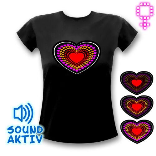 Herz Shirt LED-Shirt schwarz Partyshirt  Partygirl DJ Vallentinstag Geschenk neu