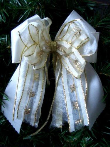 Weihnachten*10*Weihnachtsschleifen*Christbaum*Deko*Schleifen*gold//creme*