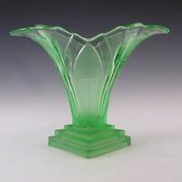 Walther & Sohne 1930's Art Deco Green Glass 'Greta' Vase