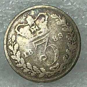 1883 British threepence Queen Victoria Young Head 92.5 % silver Coin