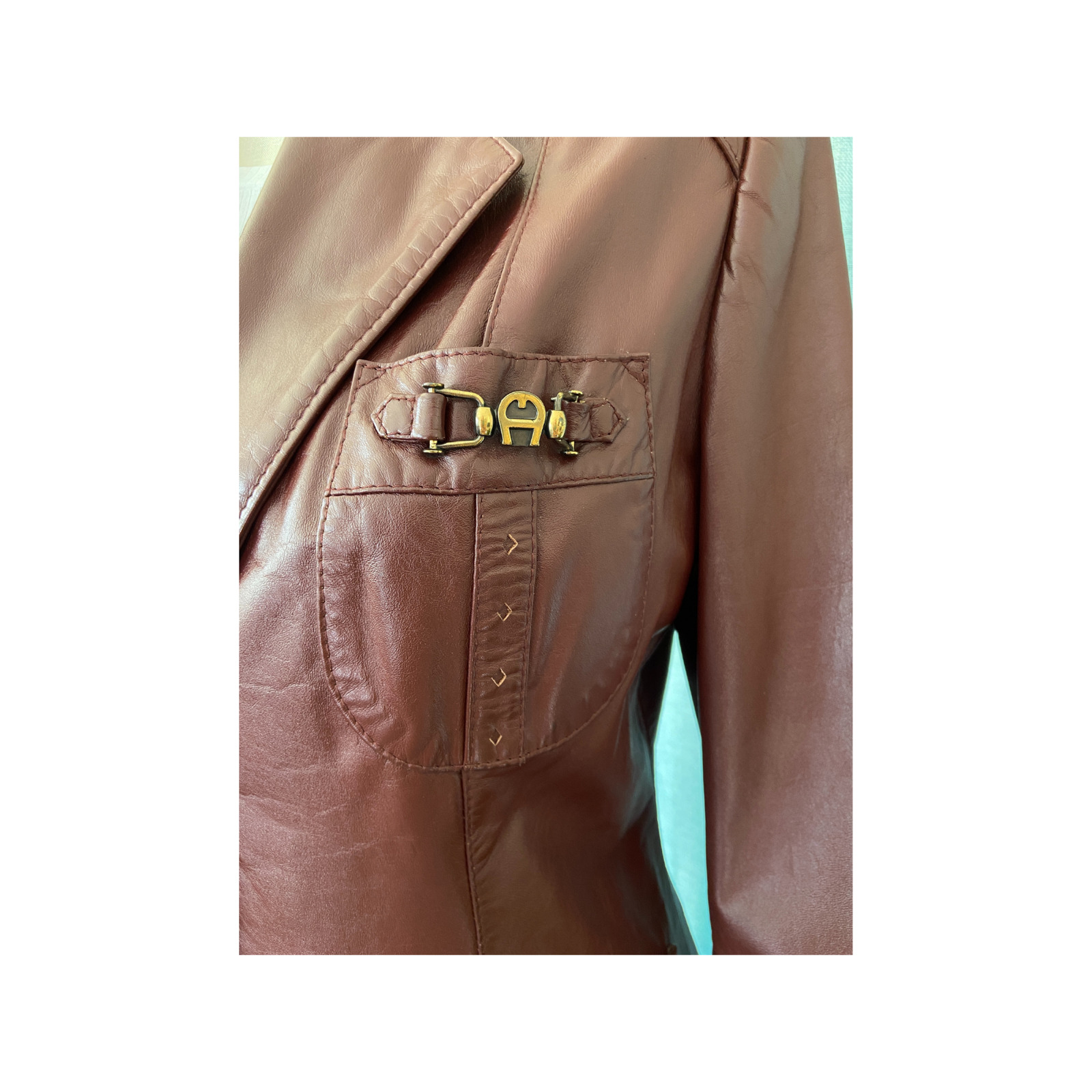1970s Etienne Aigner Brown Fitted Blazer leather … - image 2
