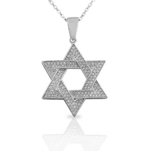 JEWISH LUCKY CLOVER Star of David Jew PENDANT NECKLACE w// CHAIN