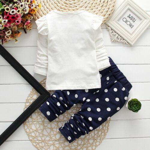 2pcs Newborn Baby Girls Minnie Mouse Long Sleeve T Shirt Tops+Pants Clothes Sets