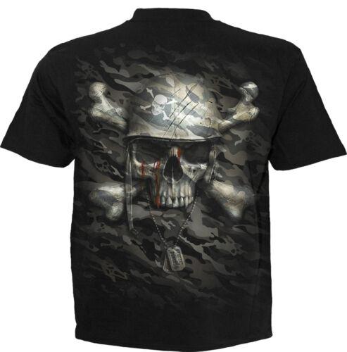 Spiral Direct CAMO-SKULL T Shirt//Army//Rock//Biker//military//Camouflage//Dog Ta//Top