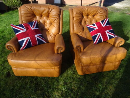 Pair-Vintage-Club-Cigar-Chesterfield-Style-Mustard-Brown-Leather-High-Armchairs