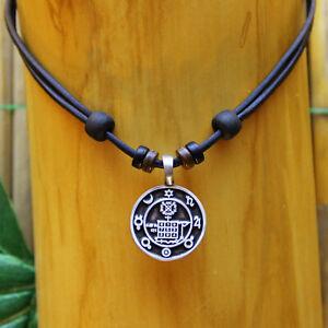 Lederkette-Talisman-Glueckssymbol-Gluecks-Amulett-Halskette-Herren-Damen-Kette