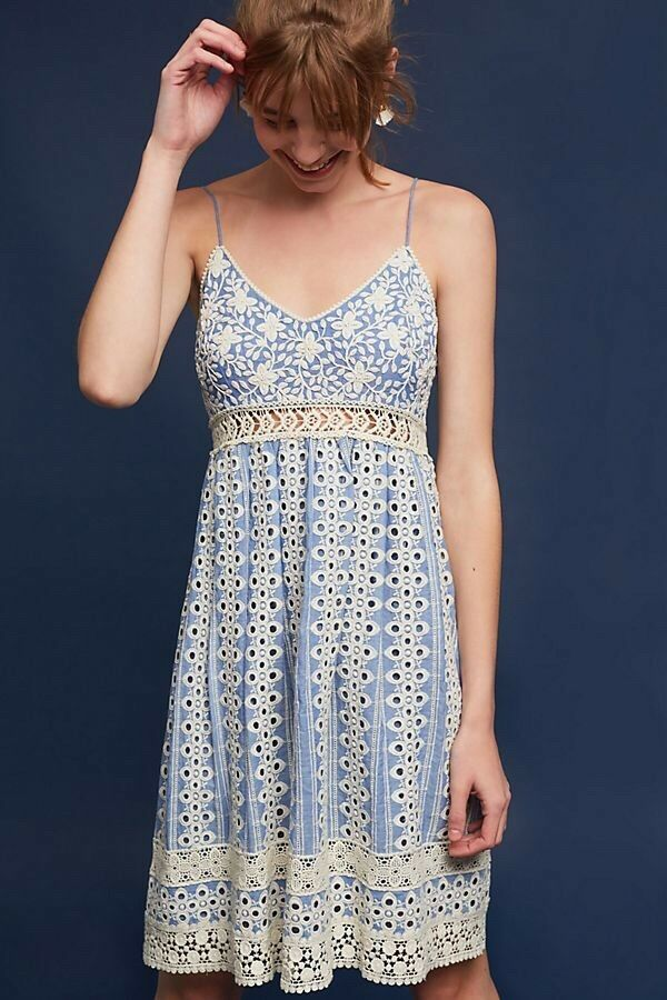 New Anthropologie Größe 00  Emilia Emibroiderot Dress By Jain