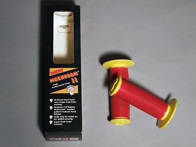 NOS BMX ODI MUSHROOM II Red Yellow Grips Freestyle