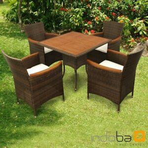 Gartenmöbel Set 5-teilig Valencia, Polyrattan braun + Holz, indoba ...