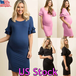 656404b9573 Image is loading Women-039-s-Casual-Pregnancy-Maternity-Short-Sleeve-
