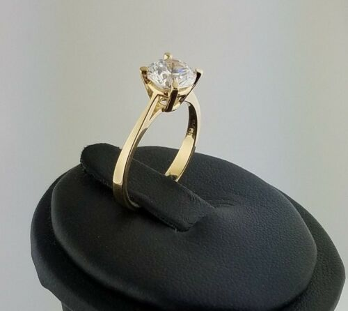 14k Yellow Gold 1.25 CT Round Diamond Solitaire Engagement Ring