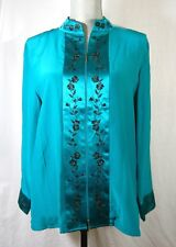 Yi Lin Silk Asian Tunic Blouse Zip Front Green Black QVC Women's M New