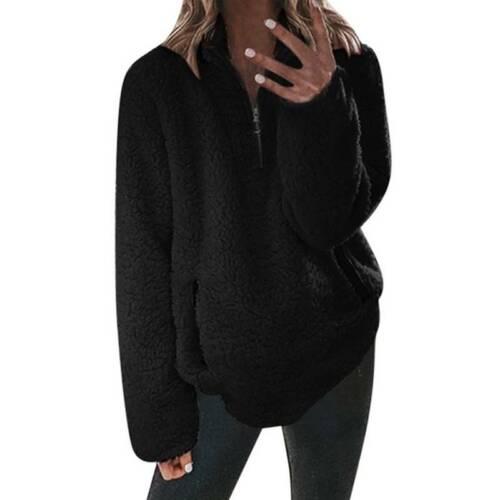 Damen Stehkragen Fleece Sweatshirt Sweater Winter Warm Pullover Pulli Jumper Top