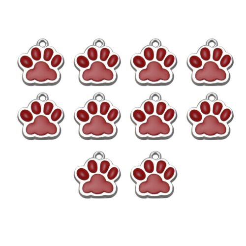 10PCs Geschenk Charm AnhäNger Emaille Rot Dog/'S Paw Silber Ton 18Mmx16Mm V1U juy