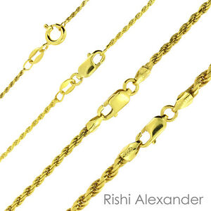 14K-Gold-over-925-Sterling-Silver-Diamond-Cut-Rope-Chain-Necklace-All-Sizes
