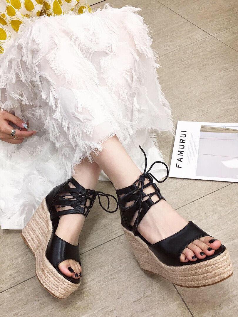 Sandales Élégant Femme 12 cm Compensé noir Corde Cuir Synthetique Lacets cw279