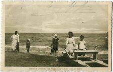 1920 Riccione - Saluti da Riccione, riva del mare bagnanti pedalò - FP B/N VG AN
