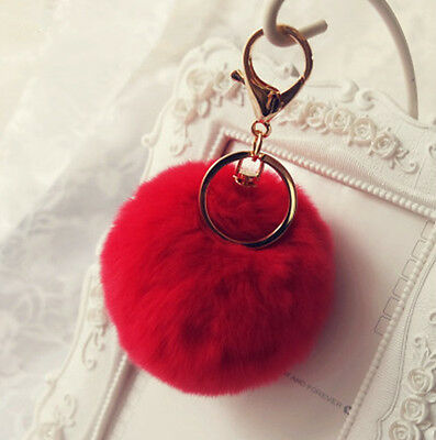 2PCS Cell Phone Car Keychain Pendant Handbag Key Ring Rabbit Fur Ball PomPom