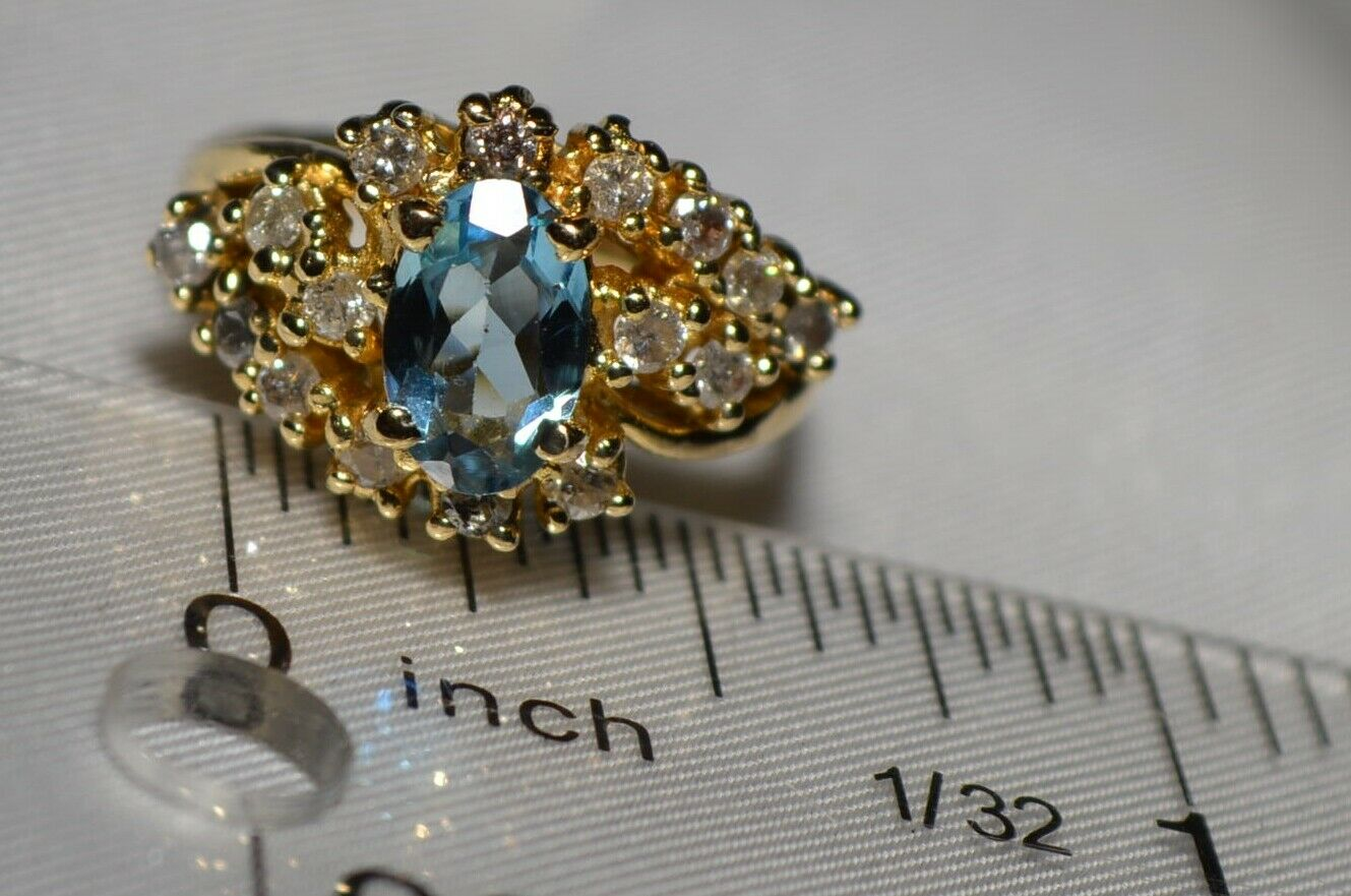14K White gold Natural Santa Maria bluee Aquamarine and Diamond Ring Free Ship