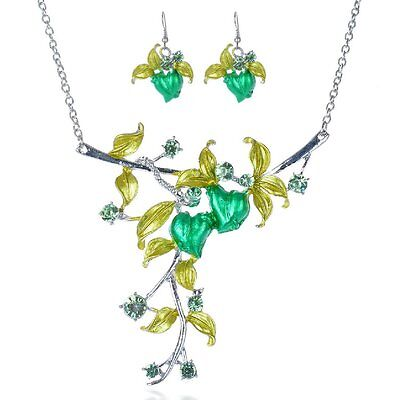 Jewelry & Watches Set Collier Earrings Rhinestone Necklace Heart Leaves Traditional Costume Green
