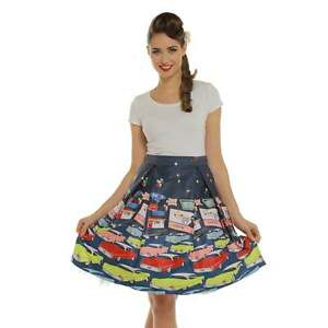 huge sale best shoes retail prices Details about 'Marie' Navy Drive In Print Swing Skirt Lindy Bop Pin Up 8-22  PLUS SIZE sale