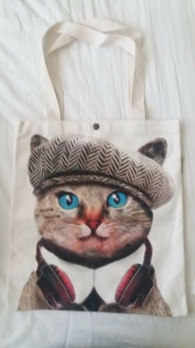 Earphones Cat Totebag Cat's Lovers Cotton WUapxwHq