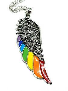 Ange-Aile-Pendentif-Lgbt-Gay-Pride-en-Email-Arc-En-Ciel-Aile-Chaine-Collier-UK